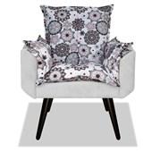 Kit 02 Poltronas Cadeiras Decorativas Gran Opala Mandala Floral Quarto Luxo Suede Branco - AM Decor