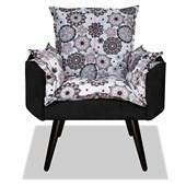 Kit 02 Poltronas Cadeiras Decorativas Gran Opala Mandala Pés Palito Floral Escritório Sala Corano Preto - AM Decor