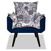 Kit 02 Poltronas Cadeiras Decorativas Gran Opala Mandala Sala Quarto Corano Azul Marinho - AM Decor