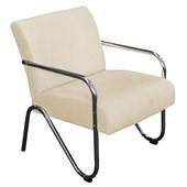Kit 02 Poltronas Cadeiras Decorativas Sara Cromada para Sala de Estar Luxo Escritório Corano Bege - AM Decor