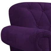 Kit 02 Poltronas Decorativas Dani Suede Roxo para Recepção Sala de Estar Capitonê Quarto - AM Decor