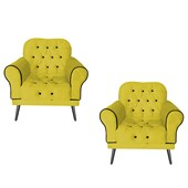 Kit 02 Poltronas Decorativas Olivia Corano Amarelo - AM Decor