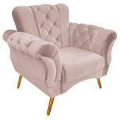 Kit 2 Poltrona Banco Sofá Cadeira Decorativa Poltrona Berlim Capitonê Suede Rosê Consultório Sala de Estar Recepção Quarto - AM Decor