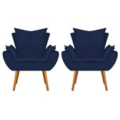 Kit 2 Poltrona Cadeira Decorativa Apolo Pés Palito para Recepção Sala de Estar Consultório Escritório Quarto Suede Azul Marinho  - Amarena