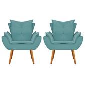 Kit 2 Poltrona Cadeira Decorativa Apolo Pés Palito para Recepção Sala de Estar Consultório Escritório Quarto Suede Azul Turquesa  - Amarena