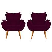 Kit 2 Poltrona Cadeira Decorativa Apolo Pés Palito para Recepção Sala de Estar Consultório Escritório Quarto Suede Bordô  - Amarena