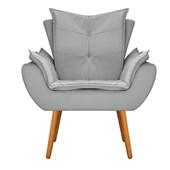 Kit 2 Poltrona Cadeira Decorativa Apolo Pés Palito para Recepção Sala de Estar Consultório Escritório Quarto Suede Cinza - Amarena