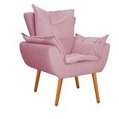 Kit 2 Poltrona Cadeira Decorativa Apolo Pés Palito para Recepção Sala de Estar Consultório Escritório Quarto Suede Rosa - Amarena