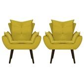 Kit 2 Poltrona Cadeira Decorativa Apolo Pés Palito Tabaco para Recepção Sala de Estar Consultório Escritório Quarto Suede Amarelo  - Amarena