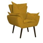 Kit 2 Poltrona Cadeira Decorativa Apolo Pés Palito Tabaco para Recepção Sala de Estar Consultório Escritório Quarto Suede Amarelo Queimado - Amarena