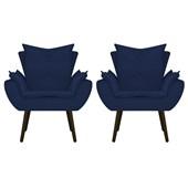 Kit 2 Poltrona Cadeira Decorativa Apolo Pés Palito Tabaco para Recepção Sala de Estar Consultório Escritório Quarto Suede Azul Marinho  - Amarena