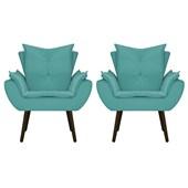 Kit 2 Poltrona Cadeira Decorativa Apolo Pés Palito Tabaco para Recepção Sala de Estar Consultório Escritório Quarto Suede Azul Turquesa  - Amarena