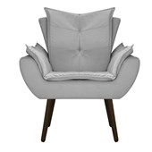 Kit 2 Poltrona Cadeira Decorativa Apolo Pés Palito Tabaco para Recepção Sala de Estar Consultório Escritório Quarto Suede Cinza - Amarena