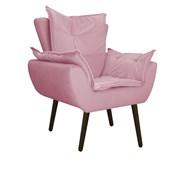 Kit 2 Poltrona Cadeira Decorativa Apolo Pés Palito Tabaco para Recepção Sala de Estar Consultório Escritório Quarto Suede Rosa - Amarena