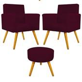 Kit 2 Poltrona Cadeira Decorativa Beatriz Pés Palito mais Puf Pufe Puff Redondo Sofia Suede Bordô para Consultório Sala de Estar Recepção Quarto - AM Decor