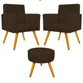 Kit 2 Poltrona Cadeira Decorativa Beatriz Pés Palito mais Puf Pufe Puff Redondo Sofia Suede Marrom para Consultório Sala de Estar Recepção Quarto - AM Decor