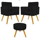 Kit 2 Poltrona Cadeira Decorativa Beatriz Pés Palito mais Puf Pufe Puff Redondo Sofia Suede Preto para Consultório Sala de Estar Recepção Quarto - AM Decor