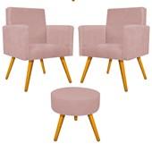 Kit 2 Poltrona Cadeira Decorativa Beatriz Pés Palito mais Puf Pufe Puff Redondo Sofia Suede Rosê para Consultório Sala de Estar Recepção Quarto - AM Decor