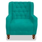 Kit 2 Sofá Estilo Provençal Poltrona Cadeira Decorativa Artur com Capitonê Suede Azul Turquesa para Quarto Escritório Recepção Sala de Estar - AM Decor