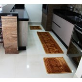 Kit 3 Peças Tapete Alto Relevo Macio para Cozinha Emborrachado Promocional Dourado - AM Decor