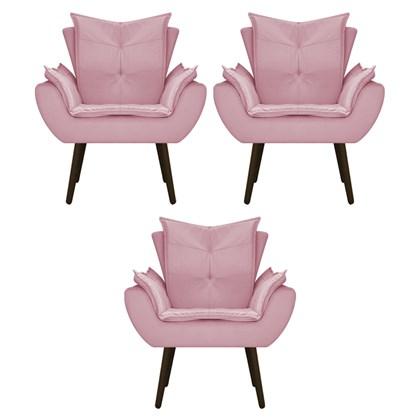 Kit 3 Poltrona Cadeira Decorativa Apolo Pés Palito Tabaco para Recepção Sala de Estar Consultório Escritório Quarto Suede Rosa - Amarena
