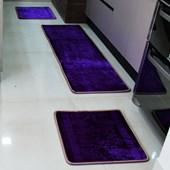 Kit de Tapetes para Cozinha 3 Peças Macio Promoção do Dia Menor Preço Emborrachado Roxo - AM Decor