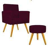 Kit Poltrona Beatriz Cadeira Decorativa Pés Palito mais Puf Pufe Puff Redondo Sofia Suede Bordô para Consultório Sala de Estar Recepção Quarto - AM Decor