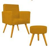Kit Poltrona Beatriz Cadeira Decorativa Pés Palito mais Puf Pufe Puff Redondo Sofia Suede Marrom para Consultório Sala de Estar Recepção Quarto - AM Decor