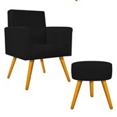 Kit Poltrona Beatriz Cadeira Decorativa Pés Palito mais Puf Pufe Puff Redondo Sofia Suede Preto para Consultório Sala de Estar Recepção Quarto - AM Decor