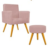 Kit Poltrona Beatriz Cadeira Decorativa Pés Palito mais Puf Pufe Puff Redondo Sofia Suede Rosê para Consultório Sala de Estar Recepção Quarto - AM Decor