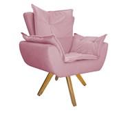 Kit Poltrona Decorativa com Puff Apolo Base Giratório de Madeira Para Recepção Sala Quarto Suede Rosa  - Amarena
