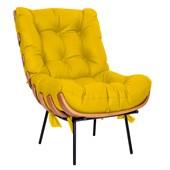 Kit Poltrona e Puff Costela Base Fixa Corano Amarelo - Amarena