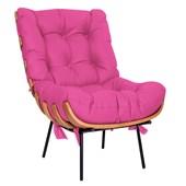 Kit Poltrona e Puff Costela Base Fixa Corano Pink - Amarena