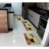 Kit Tapete Carpete Promoção 3 Peças para Cozinha Estampa Coffe Emborrachado - AM Decor