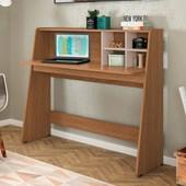 Mesa Bancada de Estudo Ideia Natura Real/Off White Home Office para Quarto Sala - Amarena