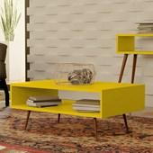 Mesa de Centro Melissa Pés Palito Para Sala de Estar Recepção Amarelo - Amarena