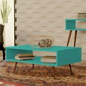 Mesa de Centro Melissa Pés Palito Para Sala de Estar Recepção Azul Tiffany - Amarena