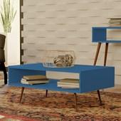 Mesa de Centro Melissa Pés Palito Para Sala de Estar Recepção Azul Turquesa - Amarena