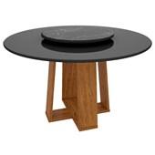 Mesa Isabela Ypê para Sala de Jantar com Tampo Giratório Nero e Vidro Preto para até 06 Cadeiras - New Ceval