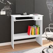 Mesa Para Computador Escrivaninha de Estudos 3 Prateleiras Branco - AJL Móveis