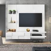 Painel Home Turim Suspenso para Tv 55 Polegadas Branco Laca para Sala de Estar - DJ Móveis