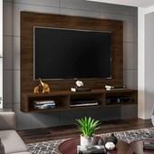 Painel Suspenso 50611 Channel Cedro para TV de até 55 Polegadas com Nichos Sala de Estar Recepção - AM Decor