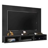 Painel Suspenso 50611 Channel Preto Fosco para TV de até 55 Polegadas com Nichos Sala de Estar Recepção - AM Decor