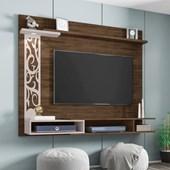 Painel Suspenso 50677 Yara Cedro e Nude para TV de até 55 Polegadas com LED Sala de Estar Recepção - AM Decor