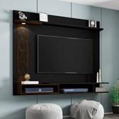 Painel Suspenso 50677 Yara Preto com Cedro para TV de até 55 Polegadas com LED Sala de Estar Recepção - AM Decor