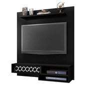 Painel Suspenso 50803 Liz Preto Fosco para TV de até 50 Polegadas com Nichos Sala de Estar Recepção - AM Decor