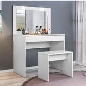 Penteadeira Camarim Atraente com Espelho e LED mais Banquinho Banqueta Ideal Branco Luxo para Quarto Sala Salão Estúdio - Demóbile
