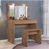 Penteadeira Camarim Atraente com Espelho e LED mais Banquinho Banqueta Ideal Nogal Luxo para Quarto Sala Salão Estúdio - Demóbile