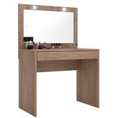 Penteadeira Camarim Atraente com Espelho e LED Nogal Luxo para Quarto Sala Salão Estúdio - Demóbile