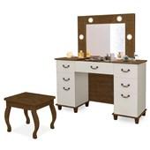 Penteadeira Camarim c/ Espelho Louise com Banqueta Eloá Retrô Malbec/Off White - Amarena Móveis